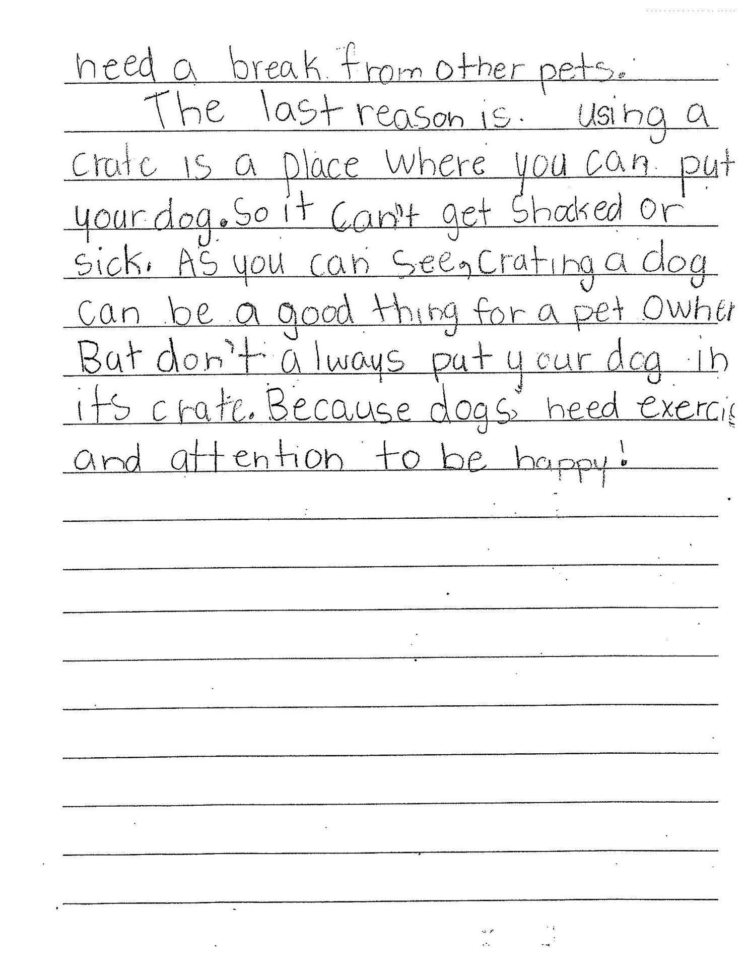 3rd Grade Writing Sample