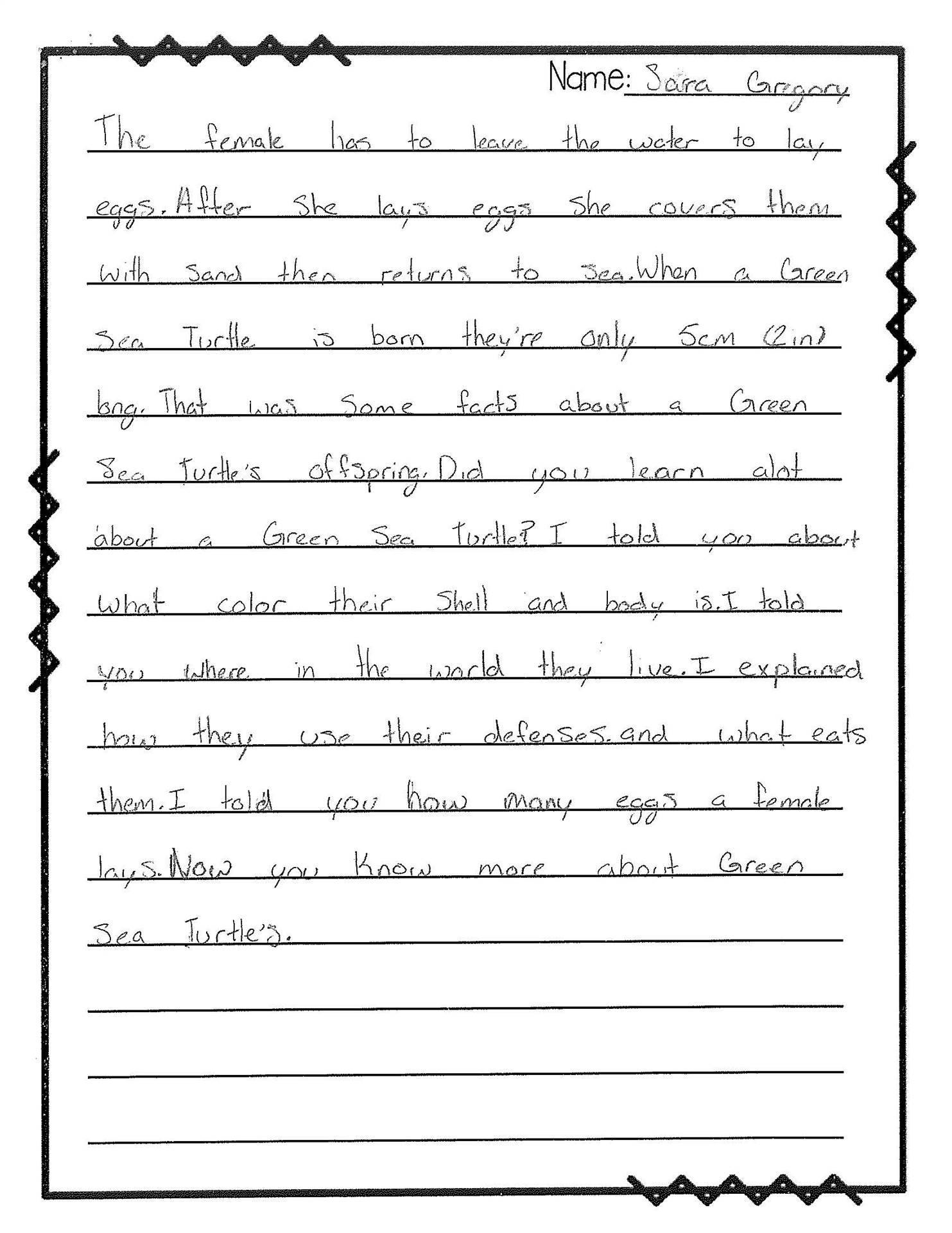 4th Grade Writing Sample